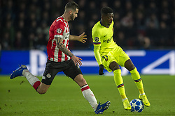 November 28, 2018 - Eindhoven, Netherlands - Ousmane Dembele of Barcelona duels with Gaston Pereiro of PSV during the UEFA Champions League Group B match between PSV Eindhoven and FC Barcelona at Philips Stadium in Eindhoven, Netherlands on November 28, 2018  (Credit Image: © Andrew Surma/NurPhoto via ZUMA Press)