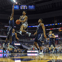 WASHINGTON, D.C. - FEBRUARY 21:  Georgetown Hoyas guard Jahvon Blair (0) in action against Xavier Musketeers guard Quentin Goodin (3) on February 21, 2018, at the Capital One Arena in Washington, DC.  The Xavier Musketeers defeated the Georgetown Hoyas, 89-77.  (Photo by Mark Goldman/Icon Sportswire)