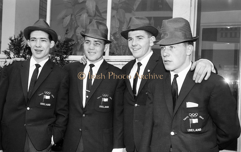 The four Irish boxers who represented Ireland at the Olympic Games in Tokyo. L to R: Sean McCafferty, Belfast, Brian Anderson, Donegal, Jim McCourt, Belfast and Paddy Fitzsimons, Belfast. McCourt won a bronze medal. .04.10.1964