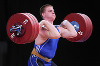 Dmitry KAPLIN (KAZ) in the clean and jerk, The London Prepares Weightlifting Olympic Test Event, ExCel Arena, London, England De