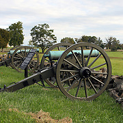 Confederate cannons positioned on Seminary Ridge, Gettysburg Battlefield