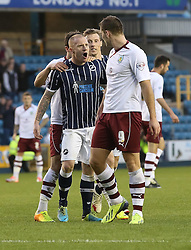 Millwall's Nicky Bailey and Burnley's Sam Vokes clash - Photo mandatory by-line: Robin White/JMP - Tel: Mobile: 07966 386802 02/11/2013 - SPORT - FOOTBALL - The Den - Millwall - Millwall v Burnley - Sky Bet Championship