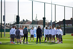 LIVERPOOL, ENGLAND - Wednesday, April 13, 2016: Liverpool's manager Jürgen Klopp and his squad during a training session at Melwood Training Ground ahead of the UEFA Europa League Quarter-Final 2nd Leg match against Borussia Dortmund. (Pic by David Rawcliffe/Propaganda)