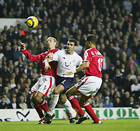 NOUREDDINE GETS SANDWICH BETWEEN TALAL EL KARKOURI AND CHRIS PERRY-BARCLAYS PREMIERSHIP-06 Nov-04-TOTTENHAM v Charlton-PIC BY KIERAN GALVIN / COLORSPORT
