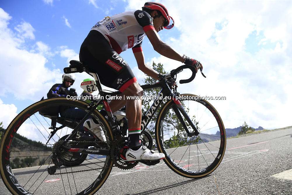 Darwin Atapuma (COL) UAE Team Emirates climbs through the Caisse Deserte on Col d'Izoard during Stage 18 of the 104th edition of the Tour de France 2017, running 179.5km from Briancon to the summit of Col d'Izoard, France. 20th July 2017.<br /> Picture: Eoin Clarke | Cyclefile<br /> <br /> All photos usage must carry mandatory copyright credit (&copy; Cyclefile | Eoin Clarke)