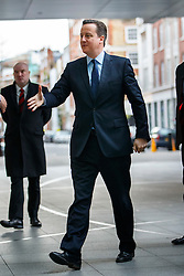 © Licensed to London News Pictures. 10/01/2016. London, UK. Prime Minister David Cameron arrives at BBC Broadcasting House in London to appear on The Andrew Marr show on BBC One on Sunday, 10 January 2016. Photo credit: Tolga Akmen/LNP