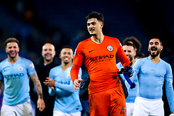 Arijanet Muric of Manchester City celebrates with teammates after his saves help his side beat Leicester City in a penalty shootout - Mandatory by-line: Robbie Stephenson/JMP - 18/12/2018 - FOOTBALL - King Power Stadium - Leicester, England - Leicester City v Manchester City - Carabao Cup Quarter Finals