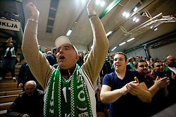Fans of Krka during basketball match between KK Krka and BC Azovmash Mariupol (UKR) of 4th Round of Regular season of Eurocup 2011/2012 on December 6, 2011, in Arena Leon Stukelj, Novo mesto, Slovenia. Krka defeated Azovmash 74-70. (Photo by Vid Ponikvar / Sportida)