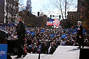 Barack Obama rallies a crowd of 14,000 in downtown Concord; Saturday, November 4, 2012. The President and former President Bill Clinton spoke on a stage set up in North State Street  two days before the general election.<br /> <br /> (ALEXANDER COHN / Monitor staff)