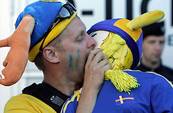 Fan of Sweden kisses a plastic girl before the UEFA EURO 2008 Group D soccer match between Sweden and Russia at Stadion Tivoli NEU, on June 18,2008, in Innsbruck, Austria. Russia won 2:0. (Photo by Vid Ponikvar / Sportal Images)