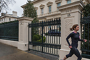 """London, England, UK, February 4 2018 - 15 Kensington Palace Gardens, home of Ukraine-born billionaire Len Blavatnik. Kensington Palace Gardens is also called """"billionaire's row"""" , as the most expensive address in Britain, with a average price for a mansion of £35. million."""