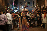 Hijra's Guru opens the Nakadia Festival, which  celebrates Happiness and Togetherness. Hijra's are invited to dance through the streets till early morning. Varanasi, India.