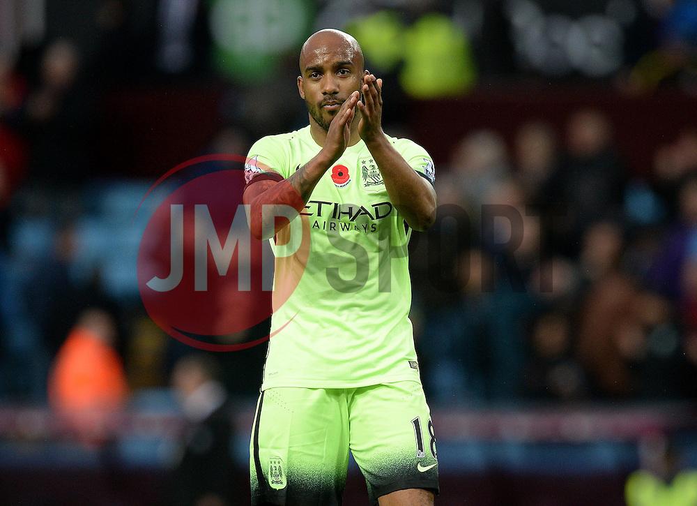 Fabian Delph of Manchester City claps the support. - Mandatory byline: Alex James/JMP - 07966 386802 - 08/11/2015 - FOOTBALL - Villa Park - Birmingham, England - Aston Villa v Manchester City - Barclays Premier League