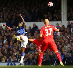 Everton's Romelu Lukaku wins a header - Mandatory byline: Matt McNulty/JMP - 07966 386802 - 04/10/2015 - FOOTBALL - Goodison Park - Liverpool, England - Everton  v Liverpool - Barclays Premier League