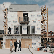 The currently-under-construction home site for Team Drew is seen during a production day for the HGTV show, Brother vs Brother, Wednesday, February 15, 2017 in Galveston, Texas. Season five of the show which features The Property Brothers, Jonathan and Drew Scott, airs later this year.<br /> <br /> Todd Spoth for The New York Times.