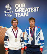 Olympics London 2012 <br /> Team GB Press Conference<br /> 12th August 2012 <br /> at Team GB House, Stratford, London, Great Britain <br /> <br /> Iain Percy and Andrew Simpson <br /> silver medal in the Star class<br /> Sailing <br /> <br /> <br /> <br /> Photograph by Elliott Franks