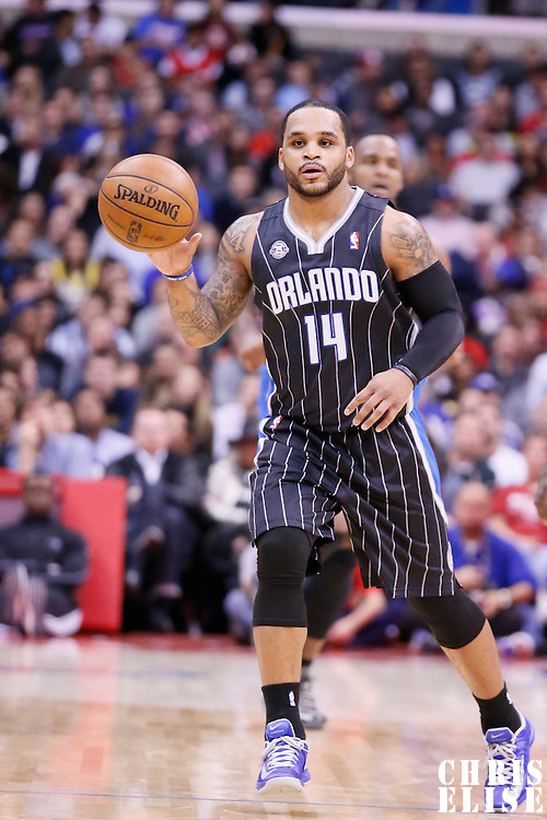 06 January 2014: Orlando Magic point guard Jameer Nelson (14) brings the ball upcourt during the Los Angeles Clippers 101-81 victory over the Orlando Magic at the Staples Center, Los Angeles, California, USA.