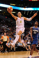 June 10, 2010; Phoenix, AZ, USA; Phoenix Mercury guard Diana Taurasi lays up the ball during the second half in at US Airways Center.  The Mercury defeated the Lynx 99-88.  Mandatory Credit: Jennifer Stewart-US PRESSWIRE