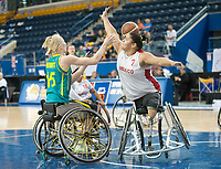 June 23, 2014; World Women's Wheelchair Basketball Championships, Mattamy Athletic Centre, Toronto Ontario, Canada, Australia v Mexico - Floralia Estrada (MEX) tand Amber Merritt (AUS) - Photo: Peter Llewellyn