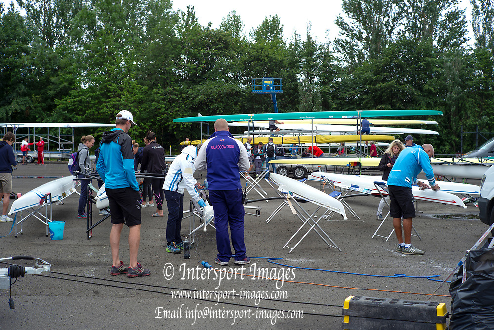 Glasgow, Scotland, Friday, 4th  August 2018, Boat repair area,  The European Games, Rowing, Strathclyde Park, North Lanarkshire, © Peter SPURRIER/Alamy Live News