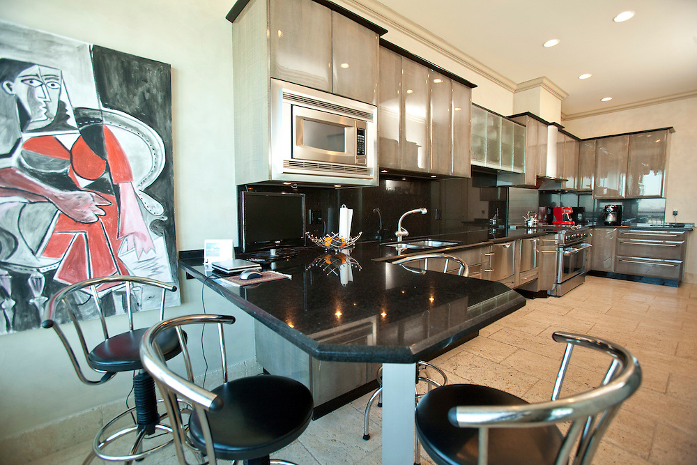 Windsor, Ontario ---10-02-19--- The kitchen of Michelle Jamal's  $1.5 million condo which overlooks the Detroit River in Windsor, Ontario, February 19, 2010.<br /> GEOFF ROBINS The Globe and Mail