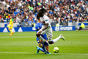 Traore Bertrand of Lyon and Tatarusanu Ciprian of Nantes during the French Championship Ligue 1 football match between Olympique Lyonnais and FC Nantes on April 28, 2018 at Groupama Stadium in Décines-Charpieu near Lyon, France - Photo Romain Biard / Isports / ProSportsImages / DPPI