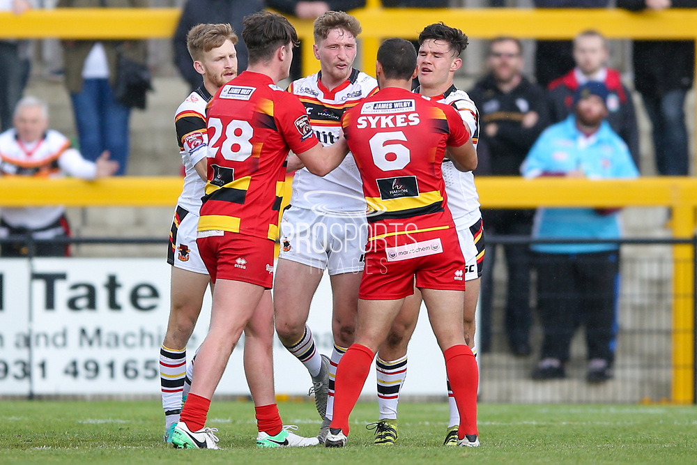Bradford Bulls full back Ethan Ryan (2) is unhappy with the challenge from Dewsbury Rams stand off Paul Sykes (6)  during the Kingstone Press Championship match between Dewsbury Rams and Bradford Bulls at the Tetley's Stadium, Dewsbury, United Kingdom on 10 September 2017. Photo by Simon Davies.