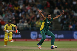 Imran Tahir of South Africa appeals unsuccessfully for LBW during the 5th ODI match between South Africa and Australia held at Newlands Stadium in Cape Town, South Africa on the 12th October  2016<br /> <br /> Photo by: Shaun Roy/ RealTime Images