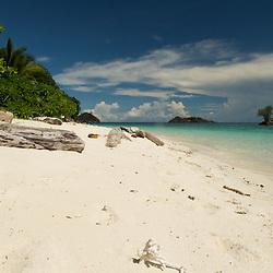 Beautiful white sandy beach. Misool area, West-Papua.