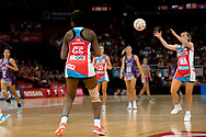 SYDNEY, AUSTRALIA - AUGUST 24: Natalie Haythornthwaite of the Swifts looks to catch the ball during the round 14 Super Netball match between the Swifts and the Queensland Firebirds at Qudos Bank Arena on August 24, 2019 in Sydney, Australia.(Photo by Speed Media/Icon Sportswire)