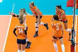 15-10-2018 JPN: World Championship Volleyball Women day 16, Nagoya<br /> Netherlands - USA 3-2 / Kirsten Knip #1 of Netherlands, Maret Balkestein-Grothues #6 of Netherlands, Anne Buijs #11 of Netherlands, Yvon Belien #3 of Netherlands
