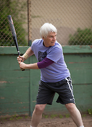 Clay awaits a pitch as the Montclair softball league celebrates its 50th season, Saturday, April 22, 2017, at Montclair Park in Oakland, Calif. The pickup softball game, played every Saturday by a group of enthusiasts ranging in age from 20 to 75, started in 1968 in Berkeley and moved to Montclair about 25 years ago. (Photo by D. Ross Cameron)