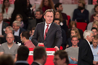 19 MAR 2017, BERLIN/GERMANY:<br /> Thomas Oppermann, SPD, Fraktionsvorsitzender SPD-Bundestagsfraktion, haelt eine Rede, a.o. Bundesparteitag, Arena Berlin<br /> IMAGE: 20170319-01-066<br /> KEYWORDS: party congress, social democratic party, speech