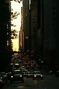 Traffic and sundown in Manhattan, New York.