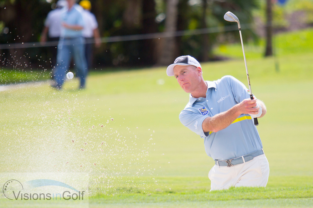 Jim Furyk in the bunker trap<br /> 2015 WGC Cadillac Championship, Trump National Doral Blue Monster GC, Miami, Florida, America, USA. 8th March 2015