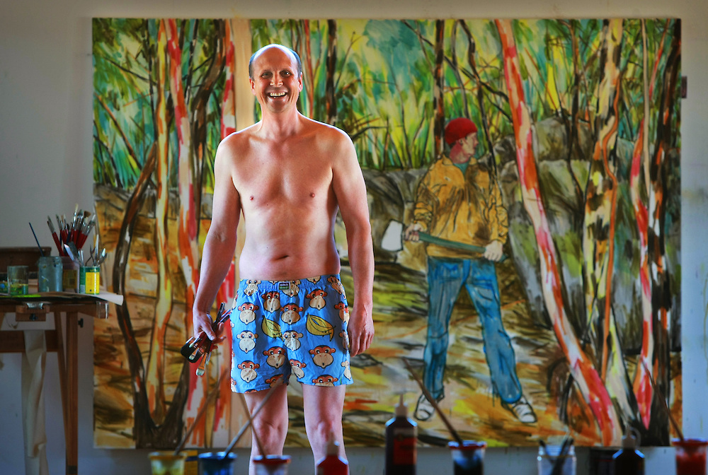 Mitch Macauley formerly Mitch Dowd the boxer short king, now tree change and painter, he changed his name to avoid the stigma of the boxer shorts preventing him being taken seriously as an artist  .Pic By Craig Sillitoe  18/06/2008 SPECIALX 000 melbourne photographers, commercial photographers, industrial photographers, corporate photographer, architectural photographers, This photograph can be used for non commercial uses with attribution. Credit: Craig Sillitoe Photography / http://www.csillitoe.com<br />