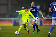 Danny Galbraith (11) of York City battles for possession with Jason Taylor (28) of Eastleigh during the Vanarama National League match between Eastleigh and York City at Arena Stadium, Eastleigh, United Kingdom on 12 November 2016. Photo by Graham Hunt.