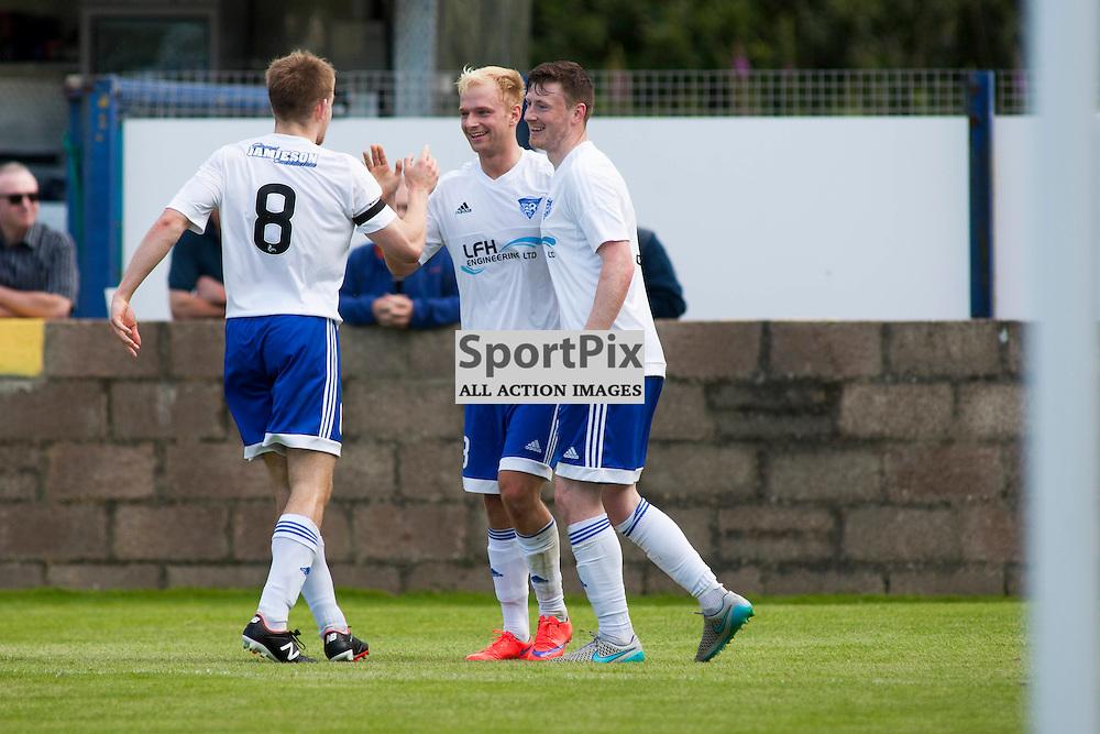 Jordan Brown (Peterhead 18) celebrates scoring with a header in the Stranraer v Peterhead Ladbrokes SPFL Scottish Division 1 at Stair Park in Stranraer 15 August 2015<br /><br />&copy; Russell Gray Sneddon / StockPix.eu