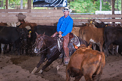 September 24, 2017 - Minshall Farm Cutting 6, held at Minshall Farms, Hillsburgh Ontario. The event was put on by the Ontario Cutting Horse Association. Riding in the $5,000 Novice Horse Class is Troy Donaldson on Dual Peps Tom Cat owned by James Cook.