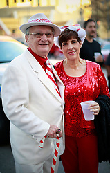 13 December 2014. New Orleans, Louisiana. <br /> Bob Dauterive at the 4th annual running of the Santas in downtown New Orleans. Proceeds from the event benefit 'That Others May Love' charity.<br /> Photo; Charlie Varley/varleypix.com