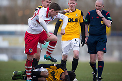 Stirling Albion's Ross Forysth over East Fife&rsquo;s Kevin Smith and starts a small melee. <br /> East Fife 1 v 0 Stirling Albion, Scottish Football League Division Two game played atBayview Stadium, 20/2/2106.