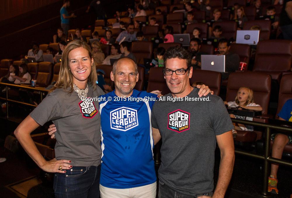 Ann Hand, David Steigelfest and Brett Morris of Super League Gaming in Cinemark Playa Vista.(Photo by Ringo Chiu/PHOTOFORMULA.com)
