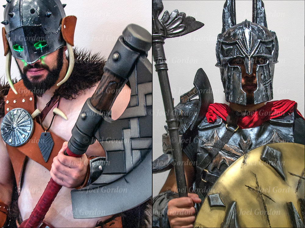 Left: Cosplay attendee  Robbie Martin in his costume, as Garruk Wildspeaker. The costume took two years to make (on and off). Everything is custom made except for the ax. The armor is 3&mdash;D printed.<br /> <br /> Right: Cosplay attendee  Dhareza Maramins in his costume, as, Spartan Batman. It took him four weeks to make his costume which consists of Thermo Plastic and foam.<br /> <br /> The New York Comic Con convention, is a celebration of comic books, graphic novels, sci-fi and video games, toys, movies and television.<br /> <br /> More than 150,000 people attended the event dressed up as their favorite superhero to celebrate comic books, sci-fi and video games.<br /> <br /> The convention brings together celebrities as well as fans of fantasy role playing, Comic-Con is the business of pop culture.<br /> <br /> Garruk Wildspeaker Cosplay - GOR-108678-cR3-15<br /> Spartan Batman Cosplay - GOR-108689-cR1-15