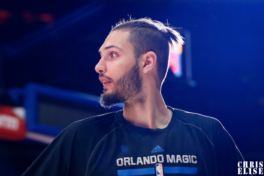 03 December 2014: Orlando Magic guard Evan Fournier (10) is seen during the players introduction prior to the Los Angeles Clippers 114-86 victory over the Orlando Magic, at the Staples Center, Los Angeles, California, USA.