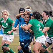 L'Aquila 12/02/2017 Stadio Fattori<br /> RBS 6 nations women 2017<br /> Italia vs Irlanda <br /> Sara Barattin placcata da Claire McLaughlin