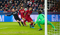 SALZBURG, AUSTRIA - Tuesday, December 10, 2019: Liverpool's Dejan Lovren blocks a shot from FC Salzburg's Andreas Ulmer during the final UEFA Champions League Group E match between FC Salzburg and Liverpool FC at the Red Bull Arena. (Pic by David Rawcliffe/Propaganda)
