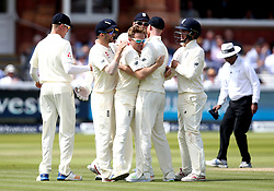 Liam Dawson of England celebrates with teammates after taking the wicket of Kagiso Rabada of South Africa - Mandatory by-line: Robbie Stephenson/JMP - 08/07/2017 - CRICKET - Lords - London, United Kingdom - England v South Africa - Investec Test Series