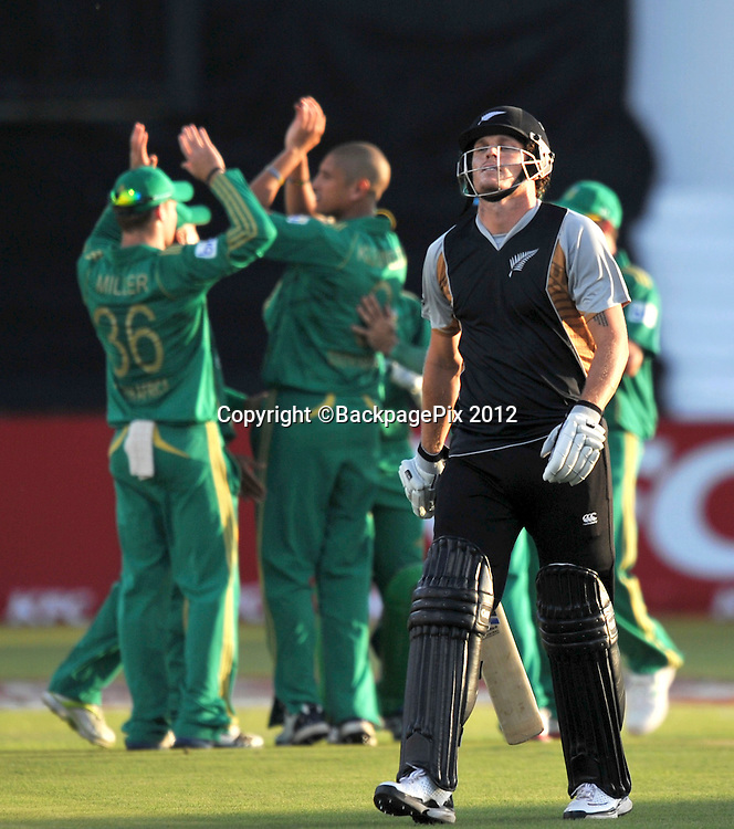 Rob Nicol , New Zealand out for 3 runs during the 2012 New Zealand Tour South Africa cricket International T20 match between South Africa and New Zealand at the Kingsmead Stadium  in Durban , December 21 , 2012<br />   <br /> <br /> &copy; Sabelo Mngoma/BackpagePix