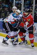 KELOWNA, CANADA - APRIL 07:  Nick Merkley #10 of the Kelowna Rockets, Reid Gardiner #23 of the Kelowna Rockets, Keoni Texeira #44 of the Portland Winterhawks at the Kelowna Rockets game on April 07, 2017 at Prospera Place in Kelowna, British Columbia, Canada.  (Photo By Cindy Rogers/Nyasa Photography,  *** Local Caption ***