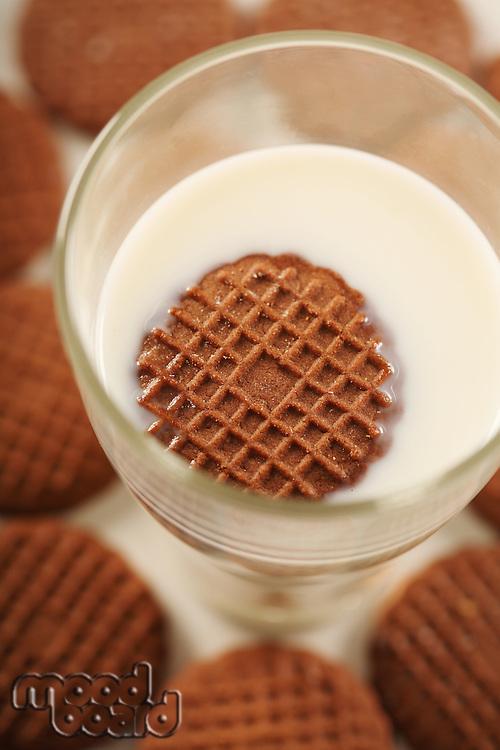 Cookies in glass of milk